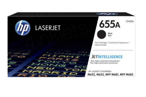 HP #655A CF450A Black Toner Cartridge (Genuine)