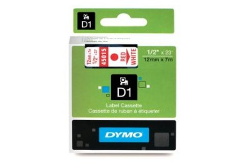 DYMO SD45015 Red on White 12MM X 7M Tape (Genuine)
