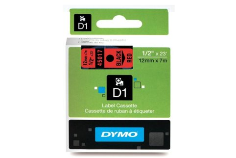 DYMO SD45017 Black on Red 12MM X 7M Tape (Genuine)