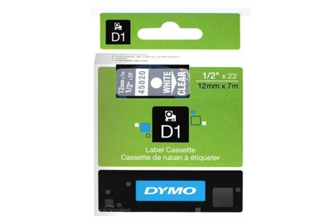 DYMO SD45020 White on Transparent 12MM X 7M Tape (Genuine)